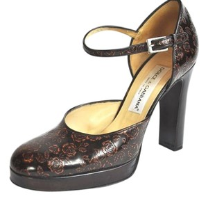 Dolce&Gabbana Mary Jane Platfrom Floral Print Brown Pumps