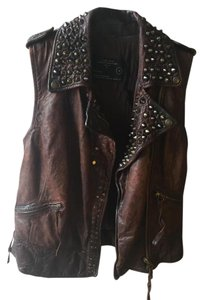 AllSaints Leather Embroidered Studded Vest