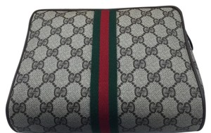 Gucci Brown And Green Clutch