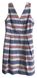 Vineyard Vines short dress blue, white, neon pink stripe Linen Preppy Classic on Tradesy