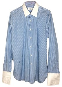 Brioni Button Down Shirt Blue