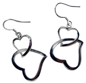 New Sterling Silver Double Heart Earrings J2941