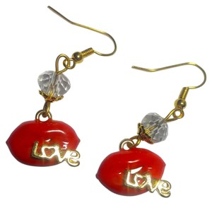 New Lips Charm Earrings Red Gold J2942