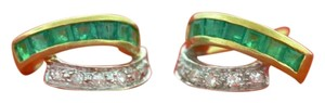 Other Emerald Diamond Earrings, 14k Yellow Gold Gemstone