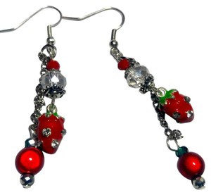 New Strawberry Charm Earrings Silver J2943