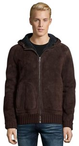 Gucci Mens Shearling Shearling Brown Leather Jacket