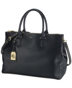 Ralph Lauren Leather Large Everyday Satchel in Black