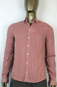 Gucci Red Rope Print Cotton Muslin Duke Button-down 42/16.5 353821 Shirt