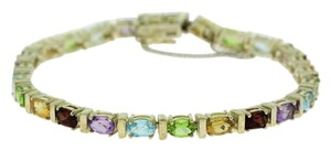 Other Multi-Color Tennis Stone Bracelet - Sterling Silver