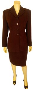 Kasper ASL Petite Kasper ASL Petite Skirt Suit Brown Pin Striped Size 6P P2245