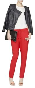 Stella McCartney Crepe Drawstring Casual Relaxed Pants Red