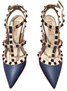 Valentino Rockstud Leather Designer Studded Stiletto Blue Pumps