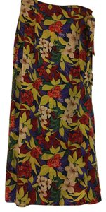 Valerie Stevens 100% Silk Floral Full Lenght Skirt Multicolor