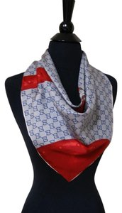 Gucci Gucci Travel Luggage Blue Red 100% Silk Women's Authentic Scarf