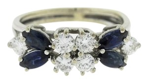 Blue Sapphire Floral Marquise Ring