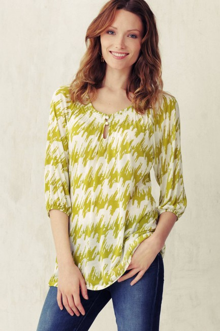 Anthropologie Comfortable Bright Pattern Modern Bohemian Soft Peasant Smocked Casual Tunic
