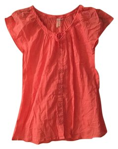 lucy Cotton Button Down Tie Peasant Top Coral
