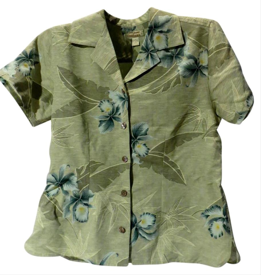 8aaef36b0eaf5c Tommy Bahama Green Hawaiian Floral Silk Button-down Top Size 6 (S ...