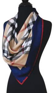 Burberry Burberry Check Beige Royal Blue 100% Silk Women's Authentic Scarf