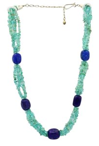 Beaded Necklace, Lapis and Green Quartz Beaded Necklace