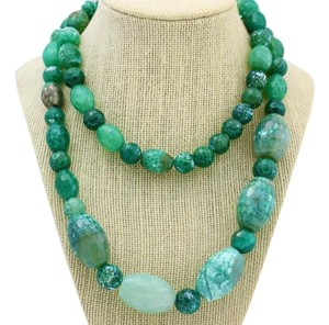 Other Natural Beaded Necklace Green Agate Gemstone