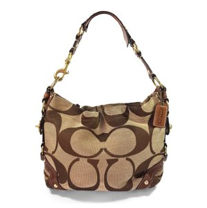 Coach Signature Jacquard Leather Hobo Bag