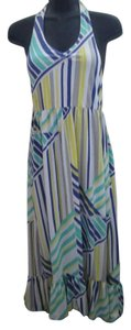 Multicolored Maxi Dress by DKNY Halter Striped Xl