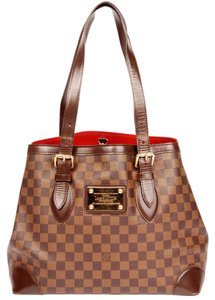 Louis Vuitton Hampstead Leather Damier Canvas Tote in Ebene