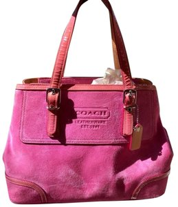Coach Purse Suede Tote in pink