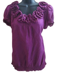 Ann Taylor LOFT Ruffled Smocked Silk Fall Autumn Top Purple