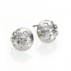 Tory Burch Small Domed Stud Earrings Silver