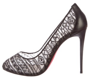 Christian Louboutin Dorissima Lace Mesh Black Pumps