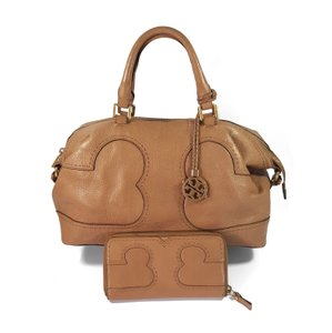 Tory Burch Pebbled Leather Gold Hardware Satchel in Tan