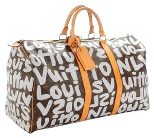 Louis Vuitton- Stephen Sprouse Graffiti Keepall Brown and Silver Travel Bag