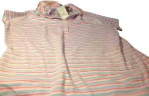 Express Polo Top Pink with light blue and dark pink stripes