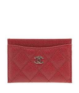 Chanel Chanel Red Caviar Quilted Leather Card Holder (100437)