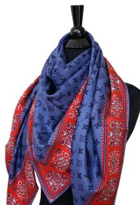 Louis Vuitton New Louis Vuitton Monogram Flowers Blue Red Authentic Silk Scarf Shawl