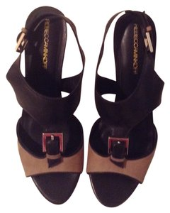 Rebecca Minkoff Black and Beige Sandals