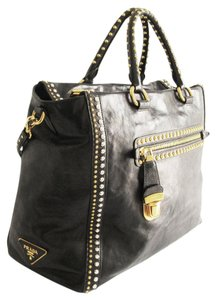 Prada Calf Leather Glace Studded Tote in Black