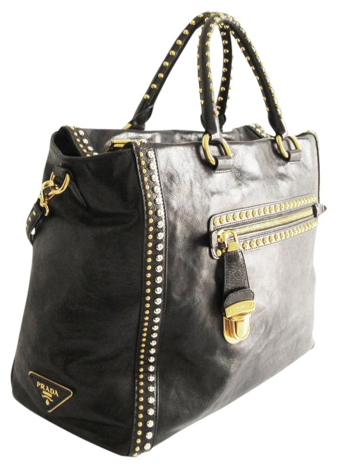 b086824f51 Prada Calf Leather Glace Studded Shoulder 8033904561164 Tote in Black Image  0 ...