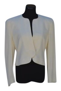 Giorgio Armani Armani Cropped Buttons No Collar Cream Blazer