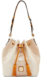 Dooney & Bourke Drawstring Shiny Gold Hardware Exotic Shoulder Bag