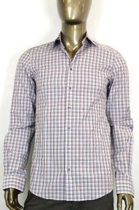 Gucci Fitted Button-down Dress Shirt Red/blue Plaid 44/17.5 307668 4872
