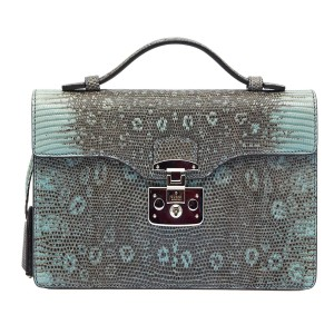 Gucci Python Satchel in Grey/light blue