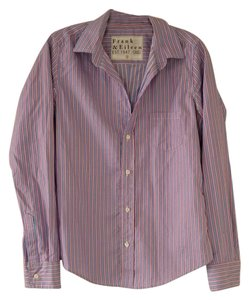 Frank & Eileen Button Down Shirt Blue with Pink Stripes