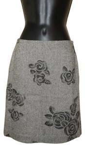 Ann Taylor LOFT Flowered Lined Wool Skirt Gray with Black