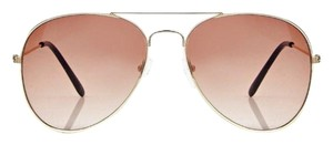 Boohooh Boohoo Leah Aviator Sunglasses Gold One Size NWT