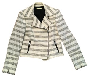 Gianni Bini Stripes Moto Coat Motorcycle Jacket