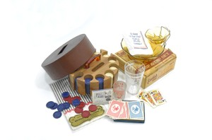 Instant Vintage Game Night | 1950s Poker Party Supplies | Vintage Poker Set | Vintage Stock The Bar Set
