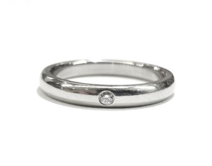 Tiffany & Co. Tiffany & Co Elsa Peretti Platinum Stacking Ring With F- VS1 Diamond Size 6. Complimentary Tiffany Blue Polishing Cloth!